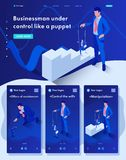 Isometric Businessman Control Like a Puppet royalty free illustration
