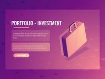 Isometric wektorowa walizka, portfolio inwestycja i finanse, abstrakcjonistyczny tło 3d ilustracja wektor