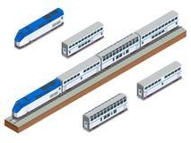 Isometric wektorowy dwupiętrowy długodystansowy pociągu pasażerskiego zbliżenie Obraz Royalty Free