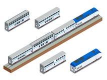 Isometric wektorowy dwupiętrowy długodystansowy pociągu pasażerskiego zbliżenie Obraz Stock