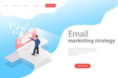 Isometric wektorowy lądowanie strony szablon dla e-mailowy marketingu, produktu promować royalty ilustracja