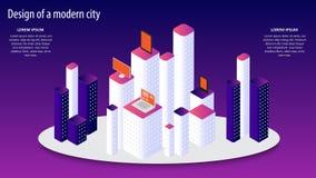 Isometric wektoru 3d ilustracja nowożytny miasto projekt 10 eps zdjęcia stock
