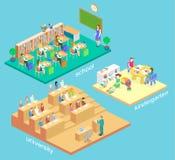 Isometric wewnętrzny dzieciniec, szkoła, uniwersytecki audytorium System edukacji ilustracja wektor