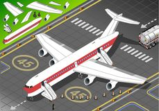 Isometric White Airplane Landed in Front View Stock Photo