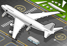Isometric White Airplane Landed in Rear View Royalty Free Stock Photography