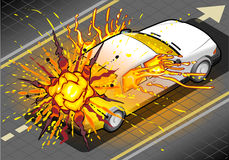 Isometric White Car in Explosion in Rear view Stock Photo