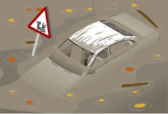 Isometric White Car Flooded in front view Stock Images