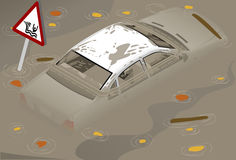Isometric White Car Flooden in rear view Royalty Free Stock Photos