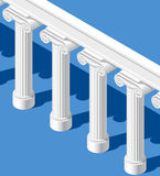 Isometric white classic ancient colonnade on blue background Stock Photos