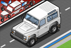 Isometric White Cross Country Vehicle in Front View Royalty Free Stock Photo
