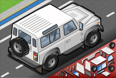 Isometric White Cross Country Vehicle in Rear View Stock Photo