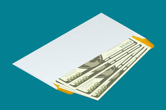 Isometric white envelope with money. Send money concept. Flat 3d vector illustration. For infographics and design games. Stock Photo