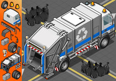 Isometric White Garbage Truck in Rear View Stock Photo