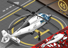 Isometric White Helicopter Landed in Rear View Royalty Free Stock Image