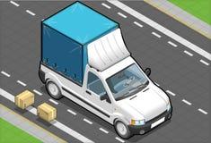 Isometric White Pickup Van with Tarpaulin Royalty Free Stock Photo