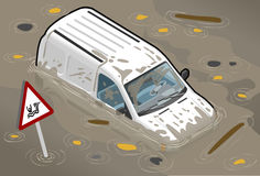 Isometric White Van Flooded in front view Royalty Free Stock Photos