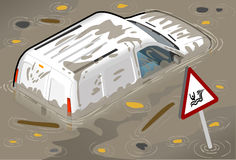Isometric White Van Flooded in rear view Royalty Free Stock Image