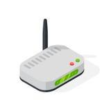 Isometric wi-fi modem router illustration isolated on white. Stock Photos