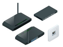 Isometric Wi-Fi wireless router. Isometric Wireless wi-fi router with one antennas on white background. High speed internet connection, computer network and vector illustration