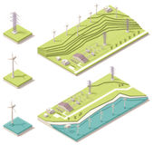 Isometric wiatrowy gospodarstwo rolne Zdjęcia Stock