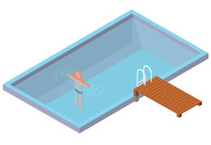 Isometric wimming pool with swimmer on white background. Stock Photos