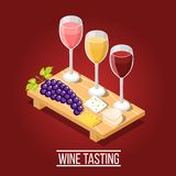 Wine Tasting Isometric Background. Isometric wine production background with images of wooden carving board wine glasses grape and cheese pieces vector Stock Images