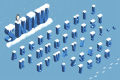 Isometric winter font alphabet with snow. Flat Vector illustration. Isometric abc. Letters, numbers and symbols Royalty Free Stock Photo