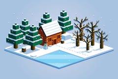 Isometric Winter Forest Scene Isolated Illustration Royalty Free Stock Photos