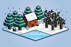 Isometric Winter Forest Scene Isolated Illustration Stock Photo