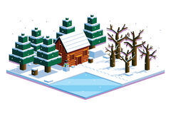 Isometric Winter Forest Scene Isolated Illustration Royalty Free Stock Photography