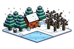 Isometric Winter Forest Scene Isolated Illustration Stock Image