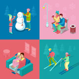 Isometric Winter People. Skiing Couple, Girl and Boy Making Snowman, Walking Outdoor Royalty Free Stock Images