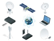 Isometric Wireless Technology and Global communication icons towers satellite. Antennas radio telescope router and Earth orbit space station GPS satellite vector illustration