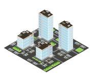 Isometric wizerunek mieszkaniowy kompleks apartamentów Zdjęcia Royalty Free