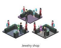 Isometric wnętrze biżuteria sklep royalty ilustracja