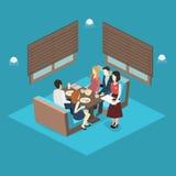 Isometric wnętrze kawiarnia sklep mieszkania 3D isometric projekta wewnętrzna kawiarnia lub restauracja Ludzie siedzą przy stołam Fotografia Royalty Free
