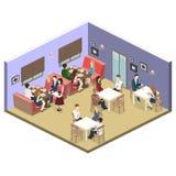 Isometric wnętrze kawiarnia sklep mieszkania 3D isometric projekta wewnętrzna kawiarnia lub restauracja Ludzie siedzą przy stołam Obrazy Stock