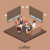 Isometric wnętrze kawiarnia sklep mieszkania 3D isometric projekta wewnętrzna kawiarnia lub restauracja Ludzie siedzą przy stołam Zdjęcie Stock