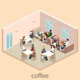 Isometric wnętrze kawiarnia sklep mieszkania 3D isometric projekta wewnętrzna kawiarnia lub restauracja Ludzie siedzą przy stołam Fotografia Stock