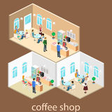 Isometric wnętrze sklep z kawą mieszkania 3D isometric projekta wewnętrzna kawiarnia lub restauracja Ludzie siedzą przy stołami i Obrazy Stock