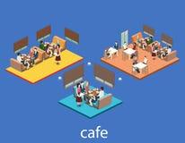 Isometric wnętrze sklep z kawą mieszkania 3D isometric projekta wewnętrzna kawiarnia lub restauracja Ludzie siedzą przy stołami i Zdjęcie Stock