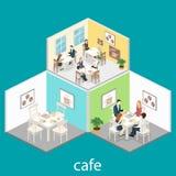 Isometric wnętrze sklep z kawą mieszkania 3D isometric projekta wewnętrzna kawiarnia lub restauracja Ludzie siedzą przy stołami i Obraz Royalty Free