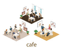 Isometric wnętrze sklep z kawą mieszkania 3D isometric projekta wewnętrzna kawiarnia lub restauracja Ludzie siedzą przy stołami i Zdjęcia Stock