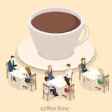 Isometric wnętrze sklep z kawą mieszkania 3D isometric projekta wewnętrzna kawiarnia lub restauracja Ludzie siedzą przy stołami i Obrazy Royalty Free