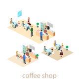 Isometric wnętrze sklep z kawą mieszkania 3D isometric projekta wewnętrzna kawiarnia lub restauracja Ludzie siedzą przy stołami i Zdjęcia Royalty Free