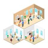 Isometric wnętrze sklep z kawą mieszkania 3D isometric projekta wewnętrzna kawiarnia lub restauracja Ludzie siedzą przy stołami i Fotografia Royalty Free