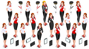 Isometric Woman Girl Icon Set Collection Vector Illustration Stock Photo