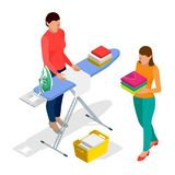 Isometric Woman Ironing Clothes Using Iron On Ironing Board After Laundry At Home and Woman holding washed and dried. Clothes. Flat style vector illustration vector illustration
