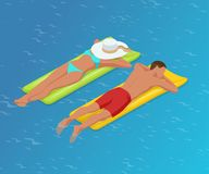 Isometric woman and the man floating on a mattress in water pool. Summer Vacation concept. Enjoying suntan woman in. Isometric woman and the man floating on a Stock Images