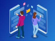 Isometric woman and man typing on mobile smartphone. Live Chat. Sms messages and Speech bubbles. Short message service. Bubbles. Flat vector illustration royalty free illustration